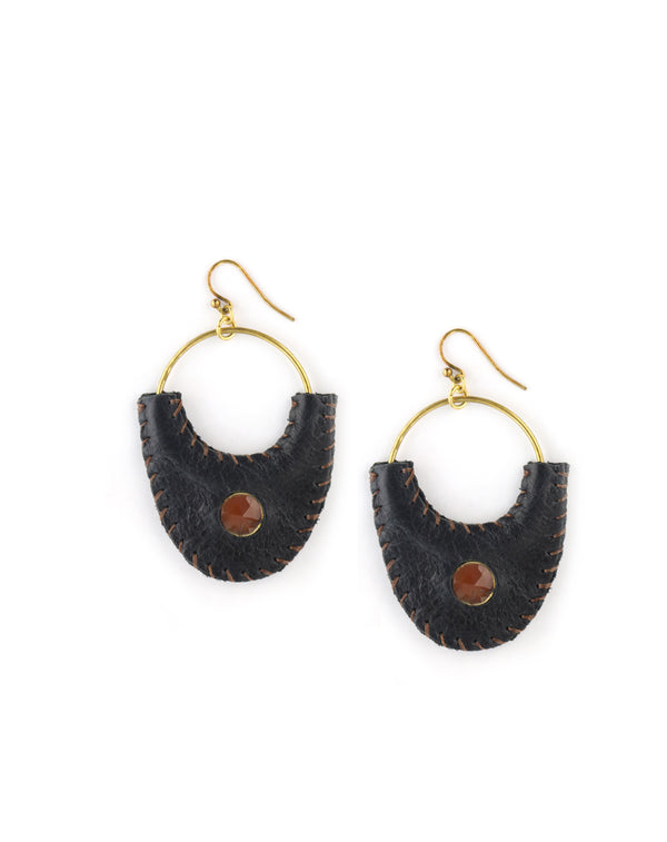 Chan Luu Leather Carnelian Earrings