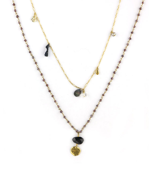 Chan Luu Long Layered Garnet Charm Necklace