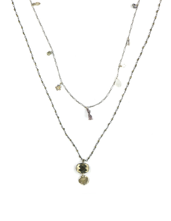 Chan Luu Long Layered Pyrite Necklace