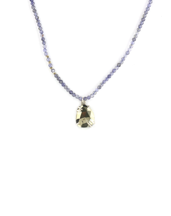 Chan Luu Beaded Iolite Pyrite Necklace