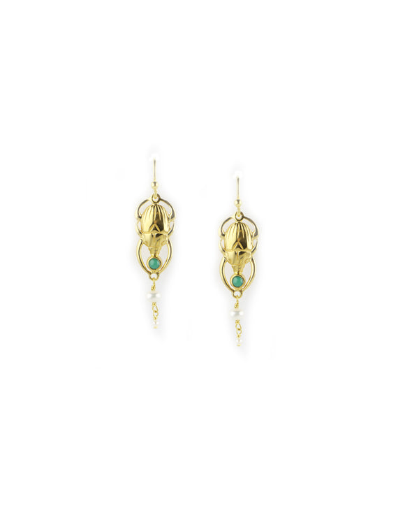 Chan Luu Green Turquoise Scarab Earrings