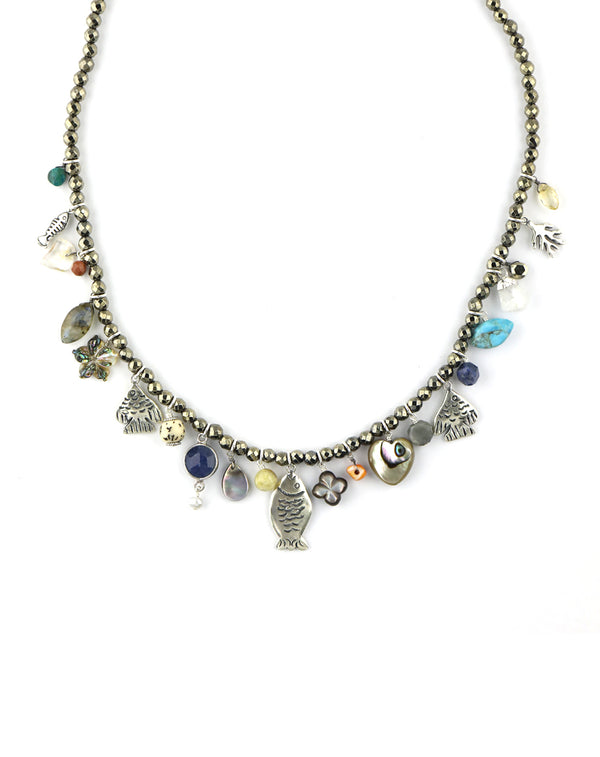 Chan Luu Pyrite Silver Fish Turquoise Charm Necklace