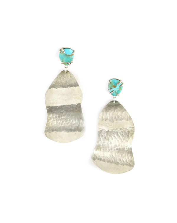 Chan Luu Silver Hammered Wave Earrings with Turquoise