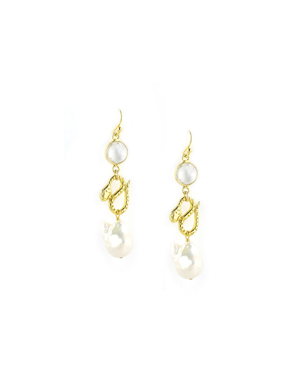 Chan Luu Gold Pearl Snake Earrings