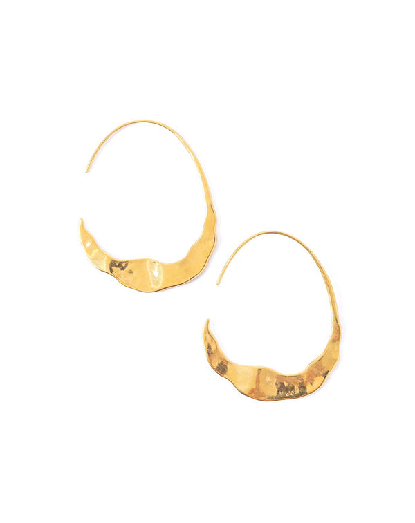 Chan Luu Wavy Crescent Moon Gold Hoops