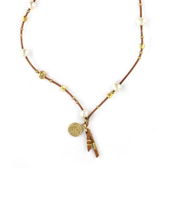 Chan Luu White Pearl Leather Necklace