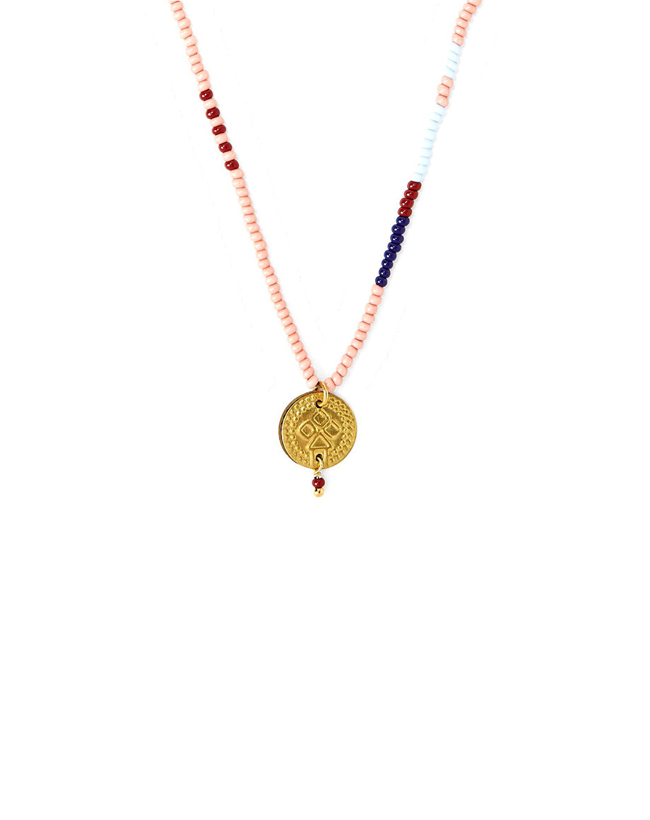 Chan Luu Coral Cloud Seed Bead Necklace