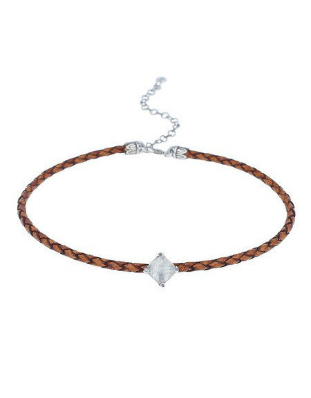 Chan Luu | Moonstone Choker with Brown Leather