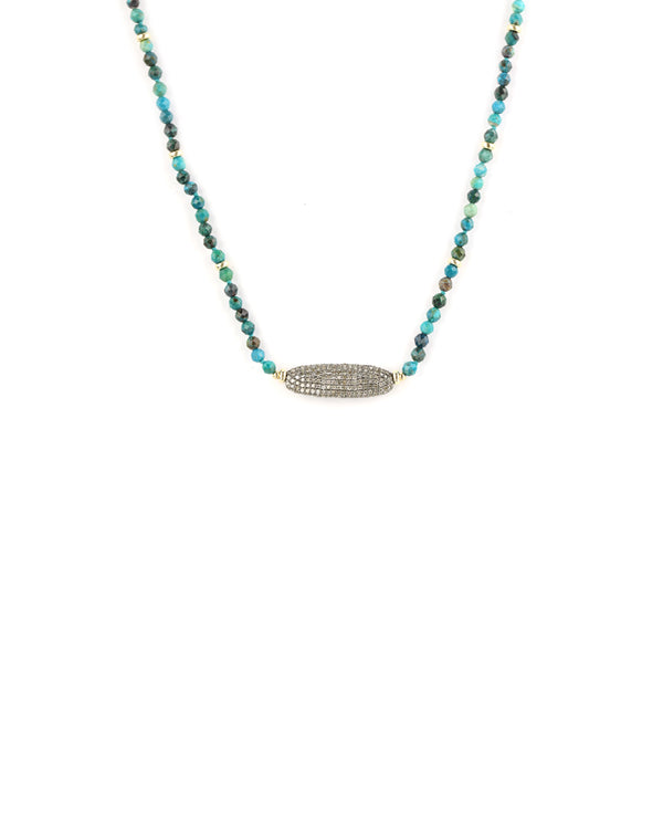Chrysocolla Diamond Necklace