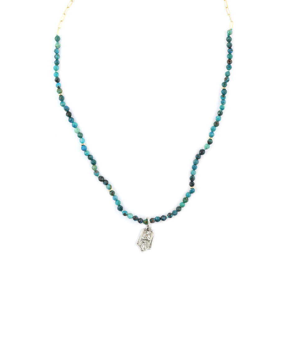 Silver Saint Charm Necklace - Turquoise & Gold Paper Clip