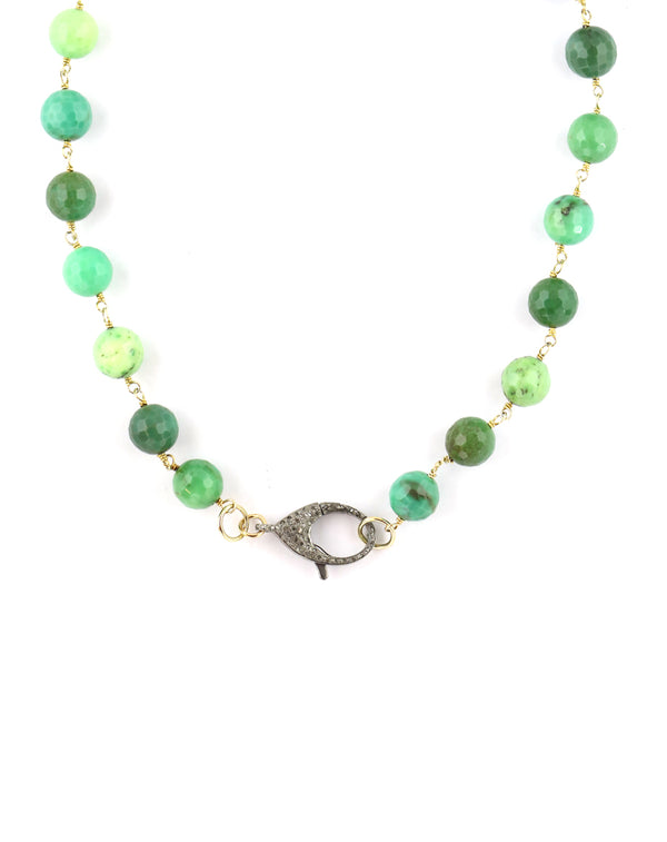 The Gem Lock Necklace: Chrysoprase & Silver Lock