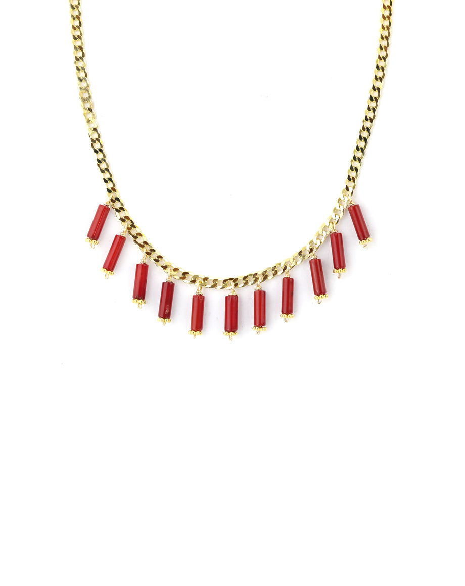 Coral Charm Gold Curb Chain Necklace