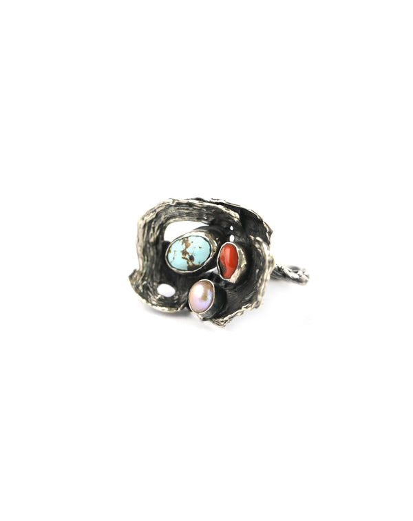 Coral Pearl Turquoise Ring