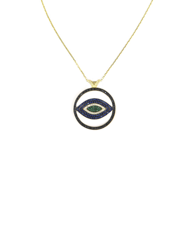 Blue Green Cut Out Evil Eye Necklace