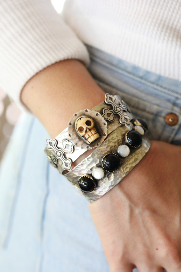 Carved Skull Cross Silver Cuff