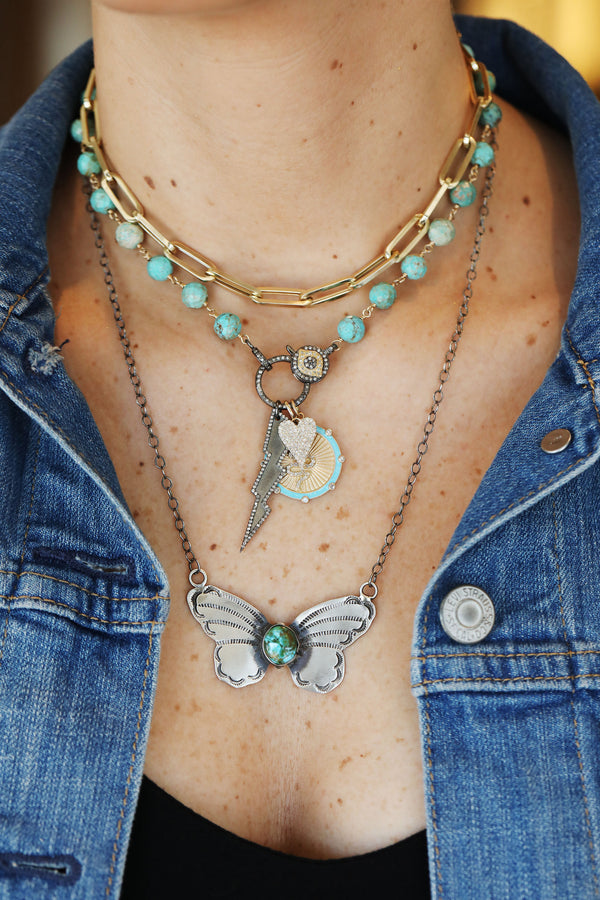 Navajo Kingman Turquoise Butterfly Necklace