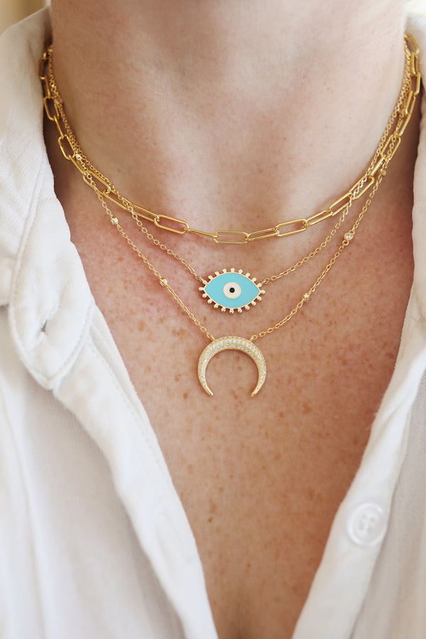 Turquoise Dotted Lash Evil Eye Necklace