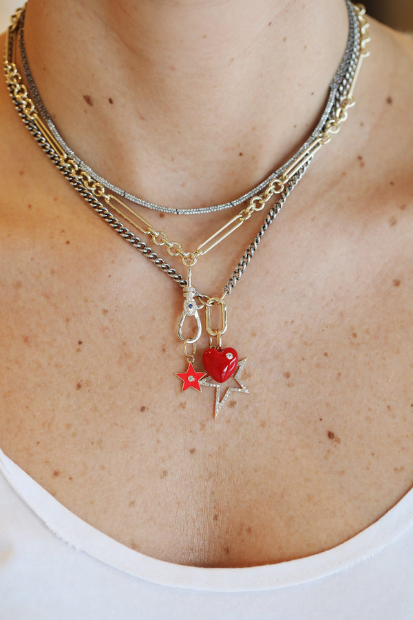 14K Gold Red Candy Heart Charm
