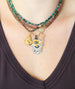 Chrysocolla Clover Evil Eye Necklace