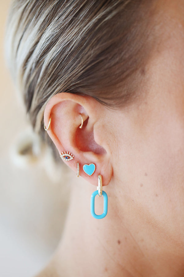 Blue Enamel Chain Link Earrings
