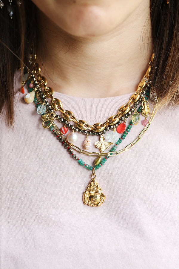 Chan Luu Pyrite Coral Charm Necklace