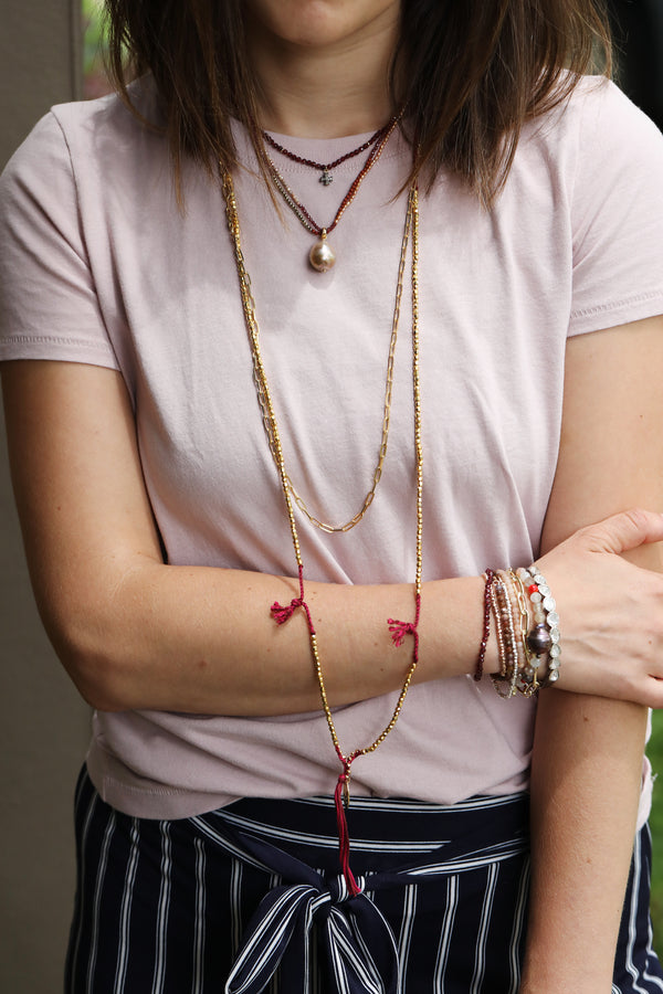 Chan Luu Long Gold Fuchsia Tassel Necklace