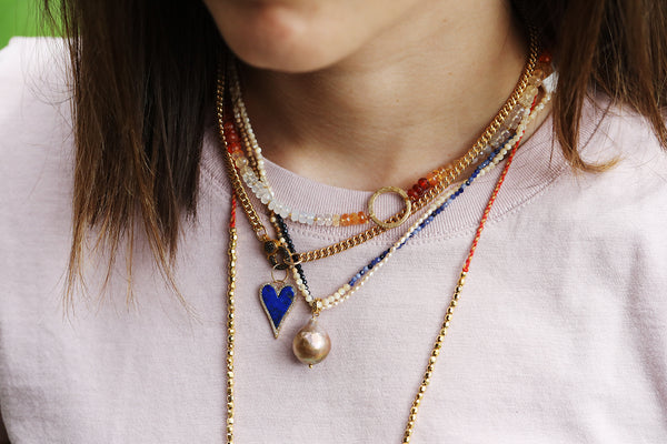 Chan Luu Pearl Lapis Mix Color Block Necklace