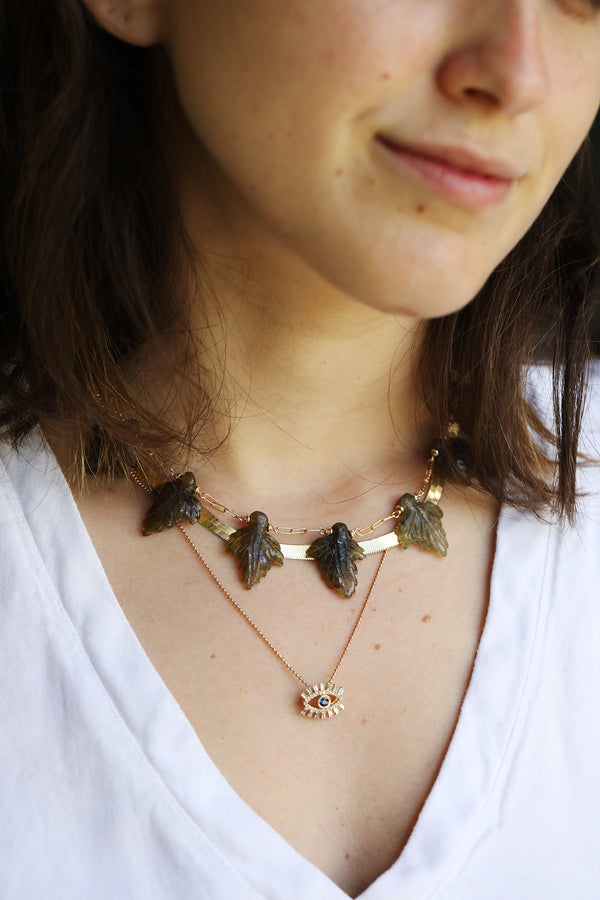Carved Labradorite Leaf Necklace