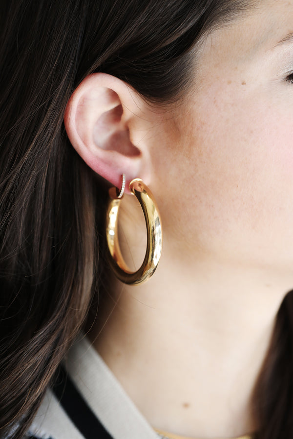 Chunky Gold Tube Hoops