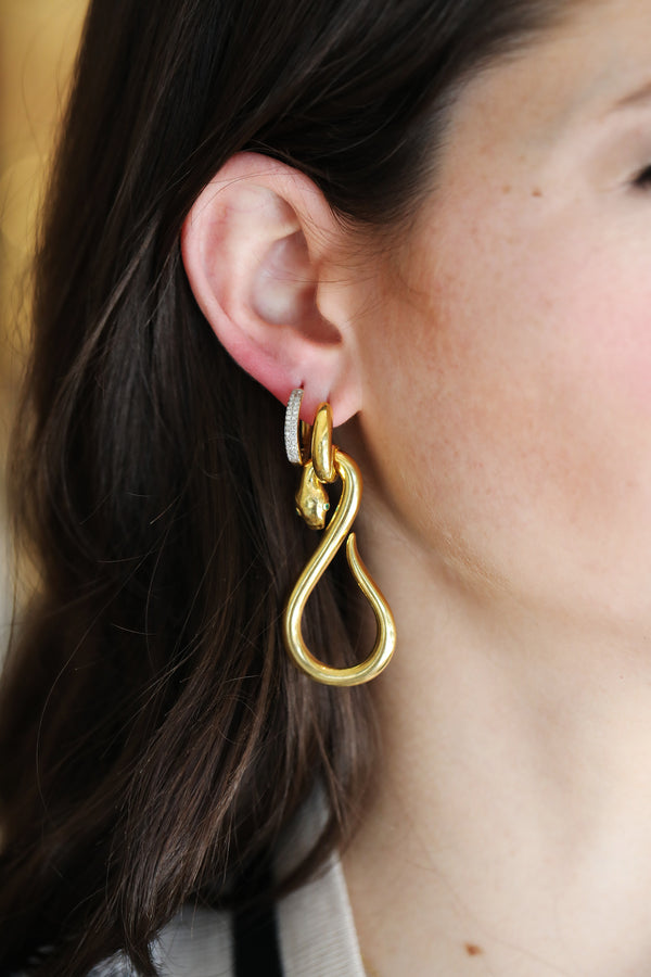 Green Eye Gold Serpent Earrings