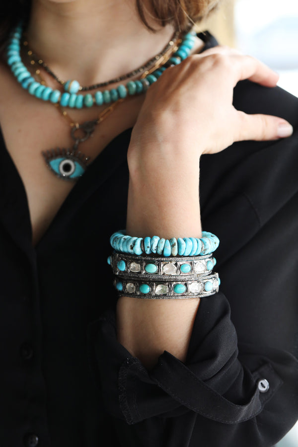 Turquoise Polki Diamond Bangle