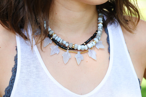 Carved Blue Lace Agate Leaf Necklace