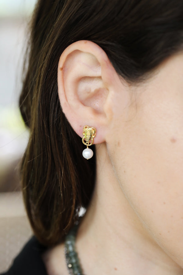 Chan Luu Gold Scarab Pearl Earrings