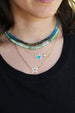Double Turquoise Enamel Star Necklace