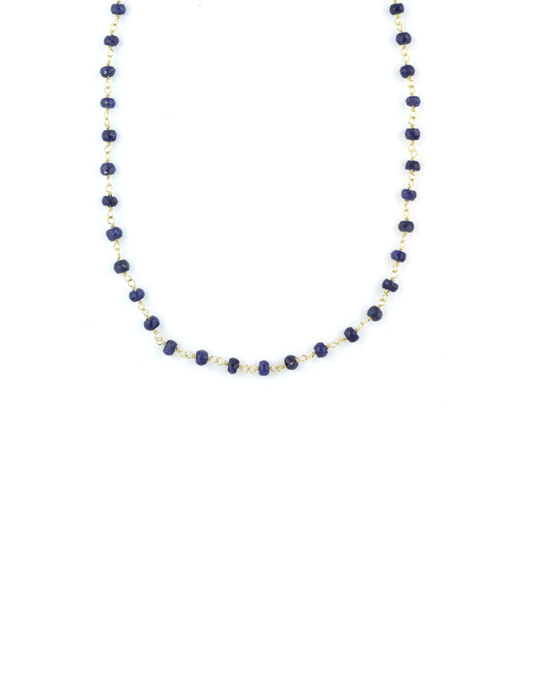 The Tin Cup Necklace: Dark Lapis Beads