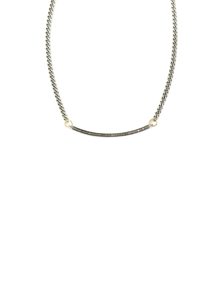 The Lina Necklace: Oxidized Bar on Silver Curb Chain
