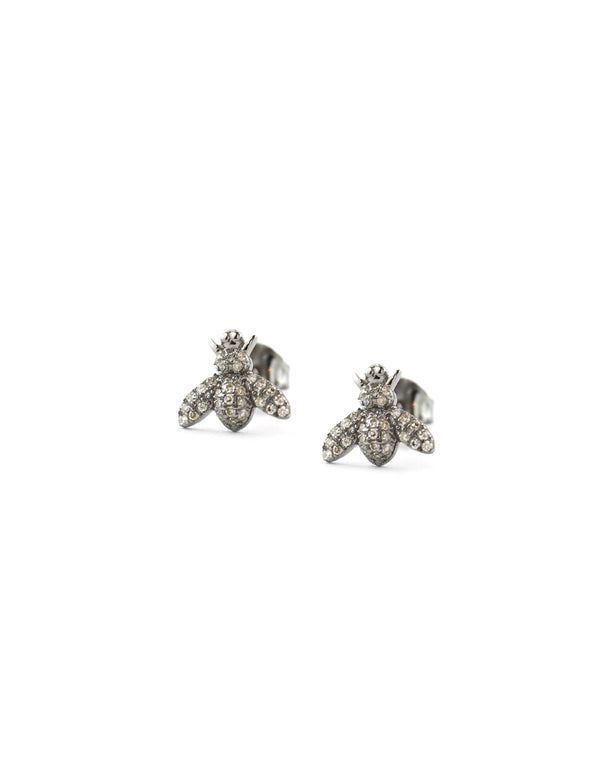 Tiny Silver Diamond Bee Studs