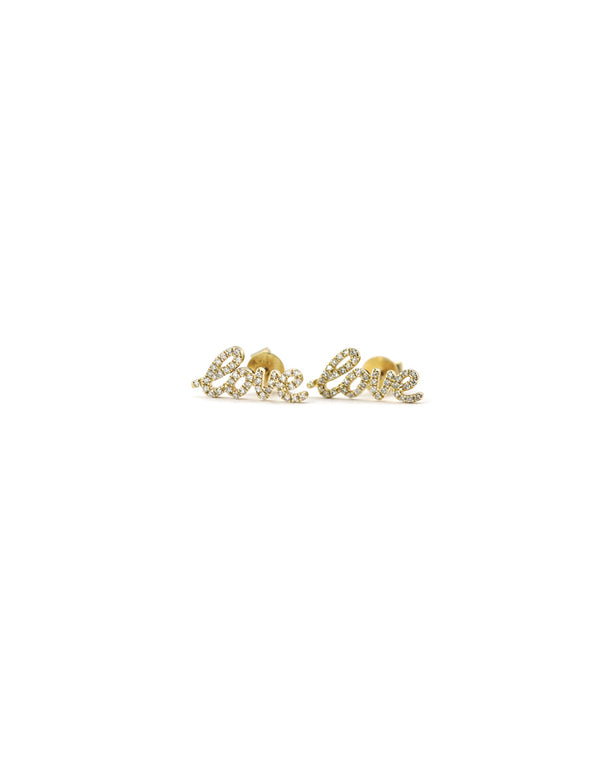 14K Gold Diamond Love Studs