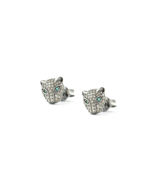 Silver Diamond Panther Studs