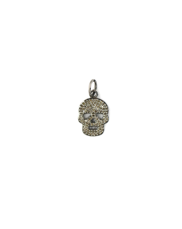 Silver Small Diamond Skull Charm