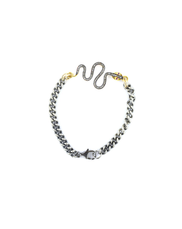 Mixed Metal Snake & Curb Chain Diamond Bracelet