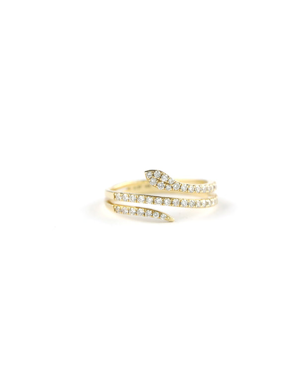 14K Gold Diamond Snake Wrap Ring