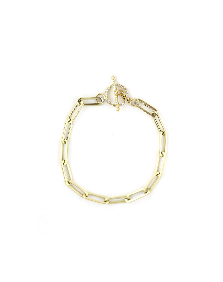 14K Gold Diamond Toggle Paper Clip Bracelet