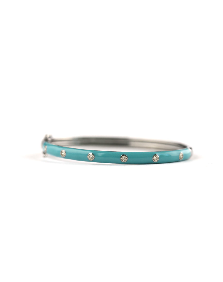 "J. Landa Jewelry  Add one of these enamel diamond bangles to your wrist stack for a modern, chic touch.   oxidized sterling silver, diamonds, enamel  fits a size 6-6.5"" wrist"