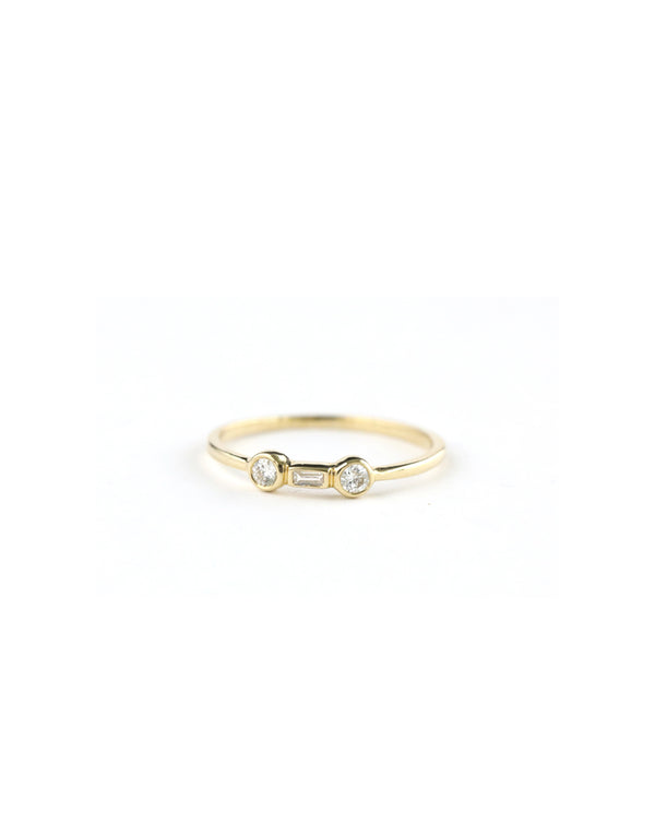 14K Gold Double Diamond & Baguette Ring