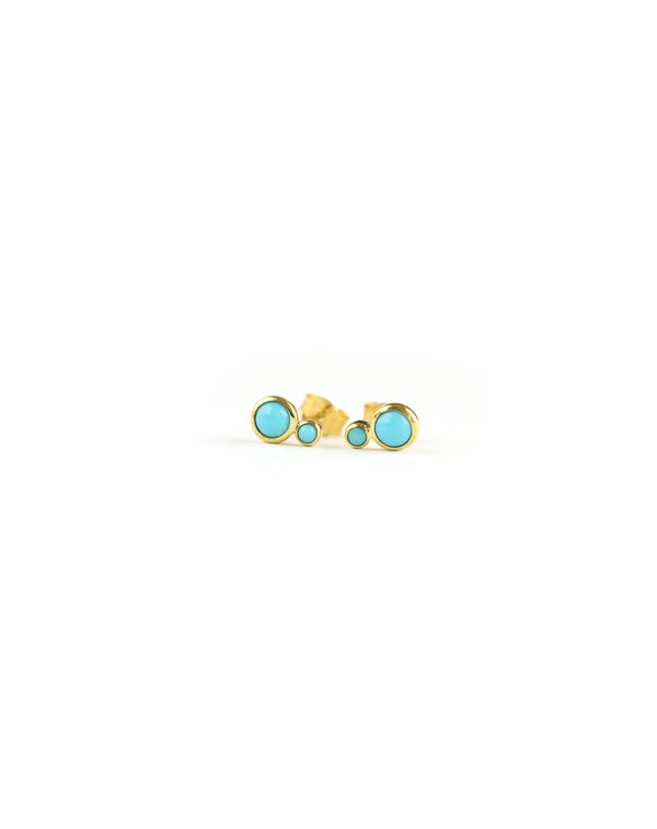 Double Turquoise Gold Stud Earrings
