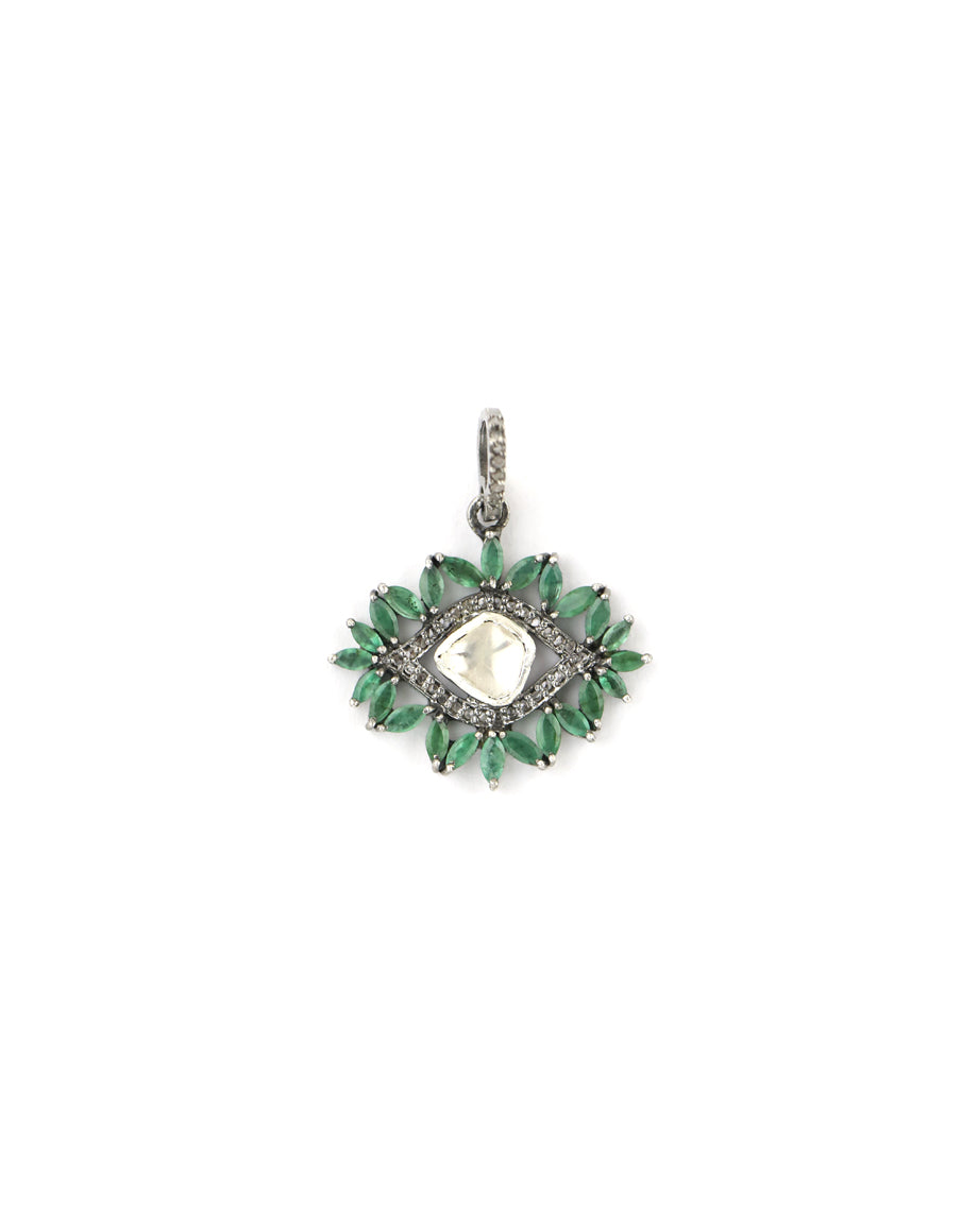 Emerald Polki Diamond Evil Eye Charm