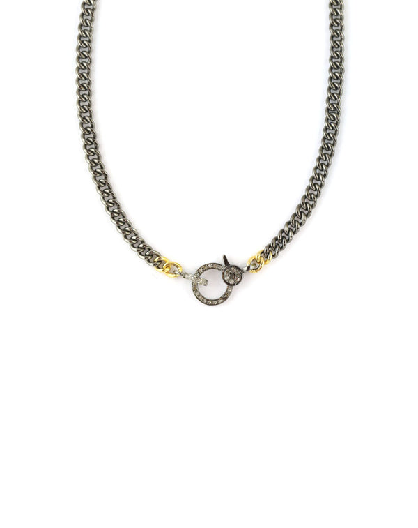 The Eva Lock Necklace: Two Toned Curb Chain