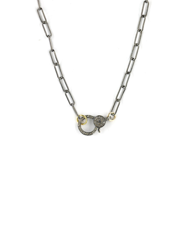 Gunmetal Paper Clip Lock Necklace