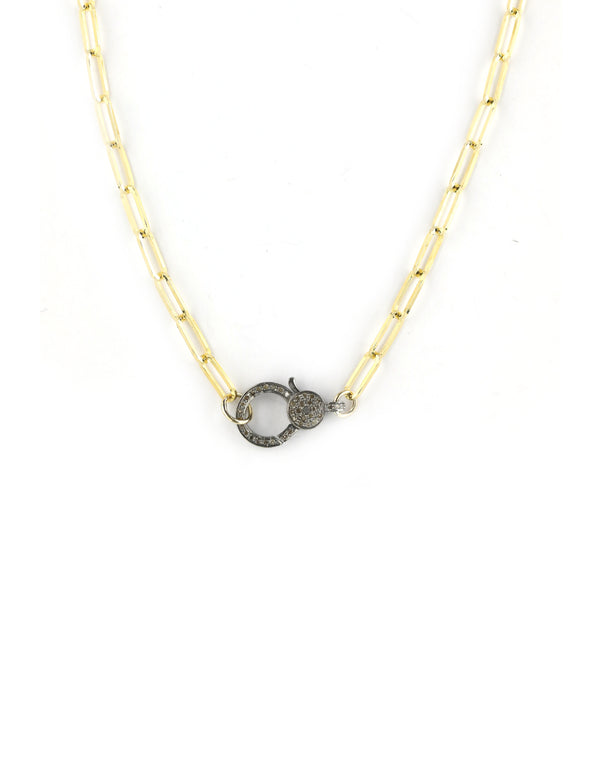The Eva Necklace - Gold Paper Clip Lock Necklace